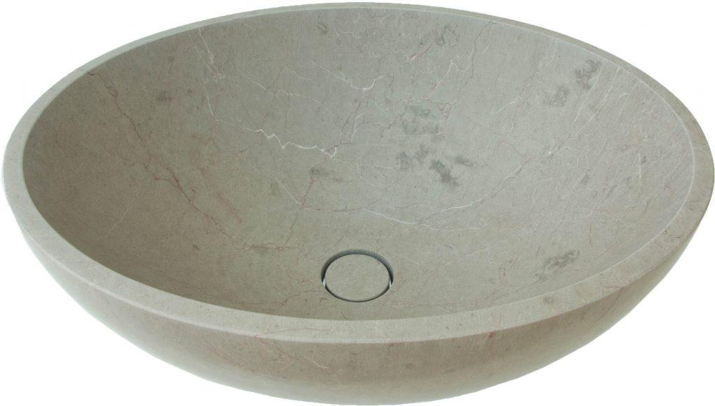 Ovale Beckenschale aus Lunelle Kalkstein