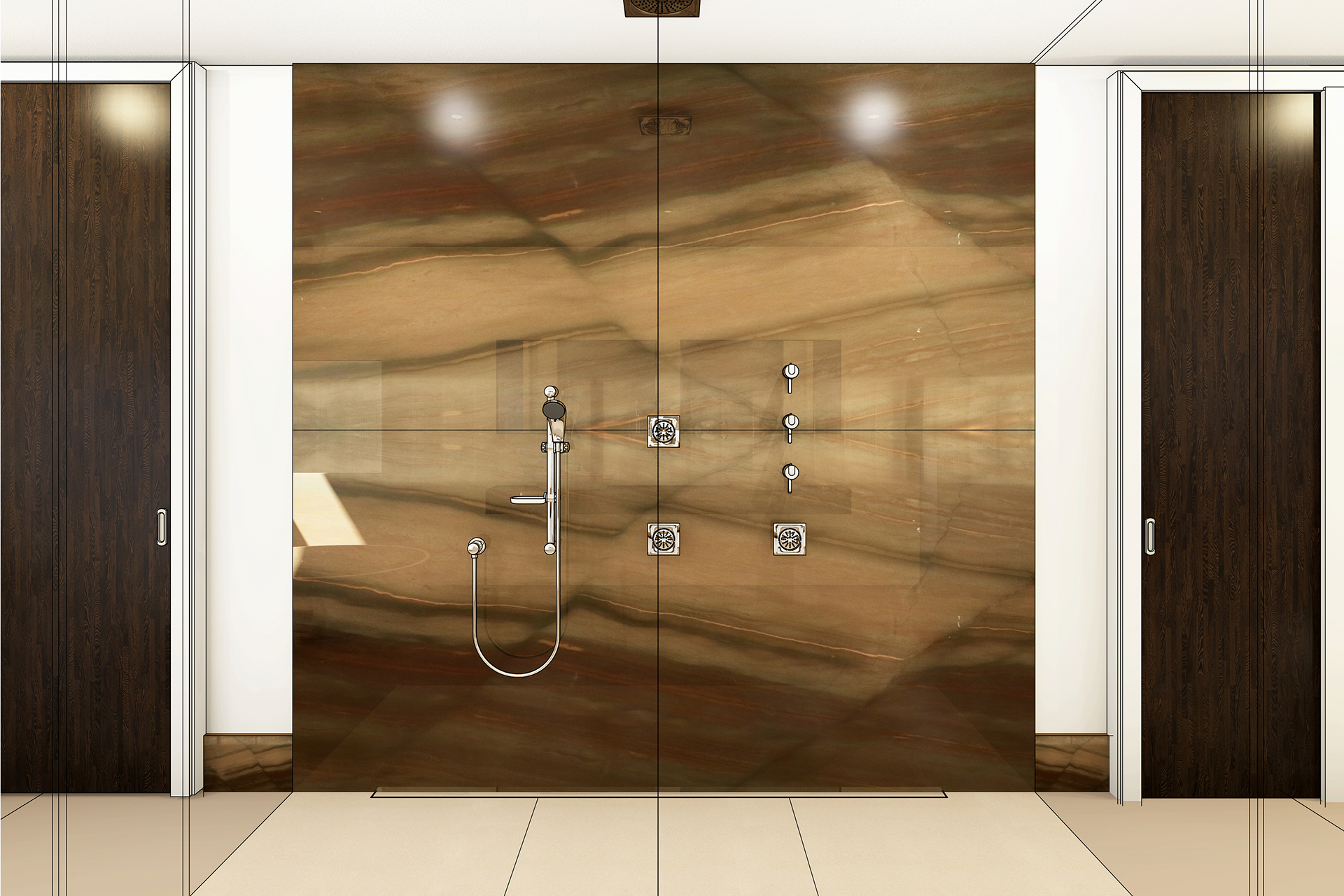 Beispiel Frontal Duschwand