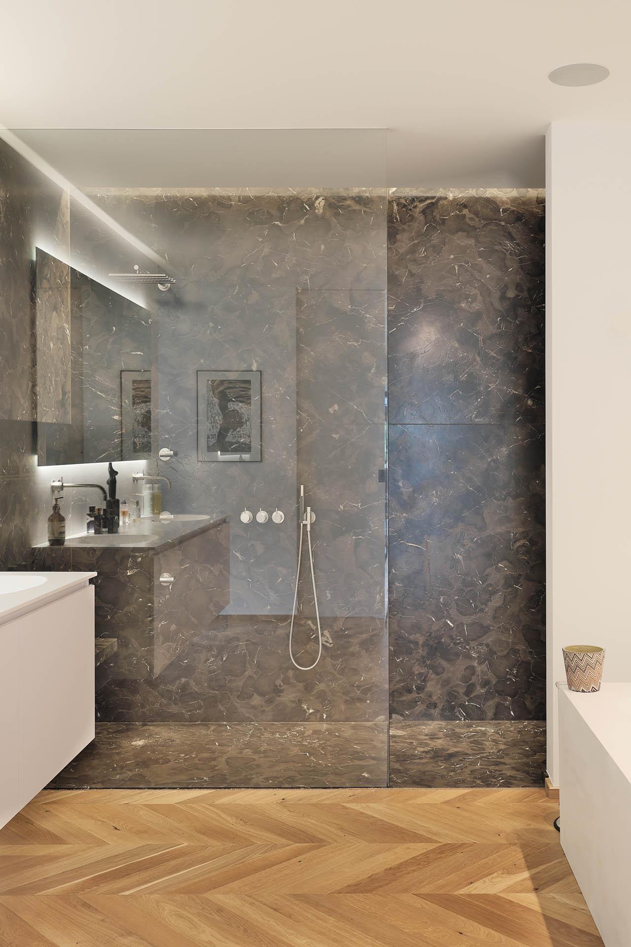 Design Duschwand aus Marmor Mystic BRown