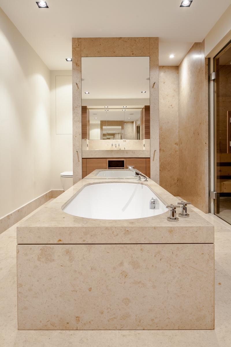 Badezimmer in Jura Gelb Marmor satiniert - Modern, Zeitlos, Design, Pflegeleicht, Bodenheizung, Traumbad